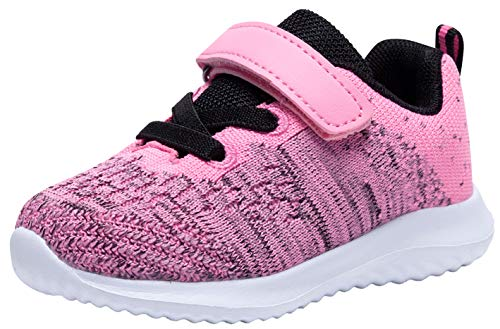 COODO Toddler/Little Kid Boys Girls Shoes Running Sports Sneakers (7 Toddler,Hot Pink)