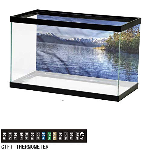 bybyhome Fish Tank Backdrop Alaska,Turnagain Arm Lakeside,Aquarium Background,30