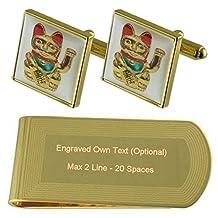 Lucky Cat Gold-tone Cufflinks Money Clip Engraved Gift Set