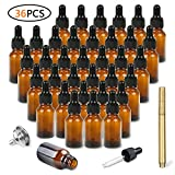 Amber Glass Dropper Bottles 36 Pack of 0.5oz(15ml) for Essential Oils, with Glass Eye Dropper, Tops Stainless Steel Funnel and Gold Glass Pen by STONEKAE Use in Bath, Kitchen and Labor