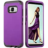 Galaxy S8 Plus Case, DUEDUE S8 Plus Case, Heavy Duty 3 in 1 Case Hybrid Hard PC Cover Soft TPU Bumper Full Body Protective Cases for Samsung Galaxy S8 Plus Case,Galaxy S8+ Case,Purple