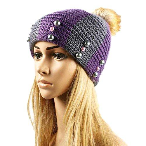 Mosunx(TM) Women Fashion Keep Warm Hemp Flowers Knitted Hat (Purple)