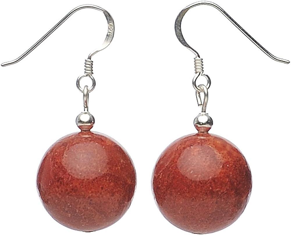 Pendientes colgantes de coral de espuma auténtico bolas & 925 plata de ley rojo mujeres