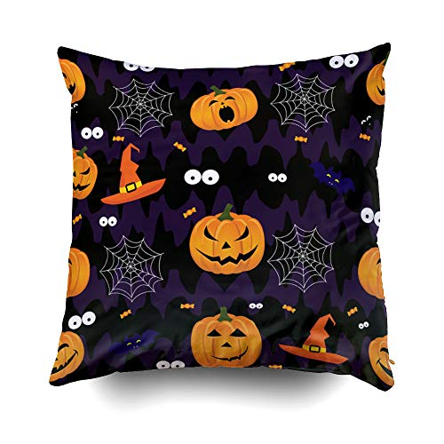 EMMTEEY Home Decor Throw Pillowcase for Sofa Cushion Cover,Halloween Abstract Halloween Pattern Girls Boys Decorative Square Accent Zippered and Double Sided Printing Pillow Case Covers 16X16Inch -
