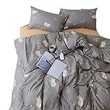 Fox Pattern 100% Natural Cotton Gray Duvet Cover Set Reversible Cute Kids Bedding Set with Zipper Closure, 4 Corner Ties Boys Girls Premium 1000 TC Hypoallergenic Comforter Cover (Fox, Twin)