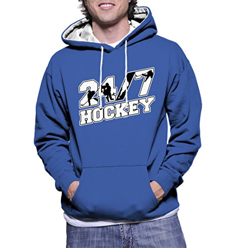 HAASE UNLIMITED Men's 24/7 Hockey Two Tone Hoodie Sweatshirt (Royal Blue/White Strings, 3X-Large)]()