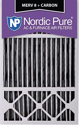 Nordic Pure 16x25x5HPM8C-1 Honeywell Replacement Pleated MERV 8 Plus Carbon Filter (1 Pack), 16 x 25 x 5""