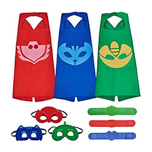 Kids Superhero Dress Up Costumes Capes and Masks (Red, Blue and Green w Felt Bracelets) -