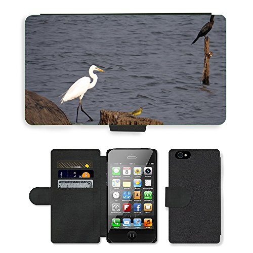 Just Phone Cases PU Leather Flip Custodia Protettiva Case Cover per // M00128100 Grande Aigrette Ardea Alba Grande // Apple iPhone 4 4S 4G