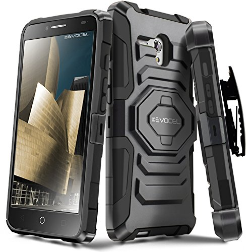 Alcatel OneTouch Fierce XL Case, Evocel [New Generation Series] Belt Clip Holster, Kickstand, Dual Layer for Alcatel OneTouch Fierce XL 5054 (2015 Release), Black (Case One Touch A Alcatel Phone)