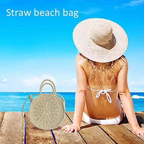 Bag Womens Summer as Bag Beach Hand Woven Wzto Wicker Crossbody Messenger Handbag Bag Bag White Round Shoulder Summer Lady ptTp1qwZX
