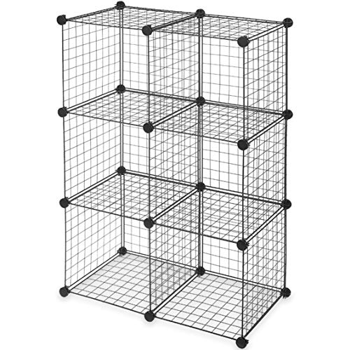6-Cube Modular Wire Storage Cubbies - Black, No-Tool Assembly