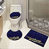 jwchijimwyc Navy Blue pattern Romantic Royal Leaf Pattern with Golden Colored Floral Branch with Leaves 3 Piece Toilet lid cover mat set Dark Blue and Gold