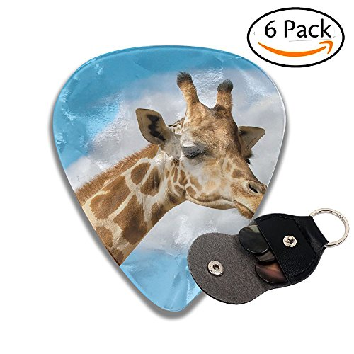 Animals Hero Giraffe Leather Pick Holder Keychain - 351 Shape Classic Guitar Picks (6 Pack) For Electric Guitar, Acoustic Guitar, Mandolin, And Bass (0.46mm, 0.71mm, ()