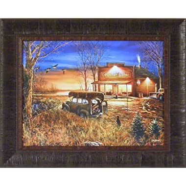 Patiently Waiting by Jim Hansel 17x21 Country Store Hunting Dog Old Truck Framed Art Print Wall Décor Picture