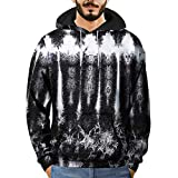 Clearance Mens T Shirts WEUIE Mens 3D Printed Striped Pullover Long Sleeve Hooded Sweatshirt Tops Blouse (2XL, Black)