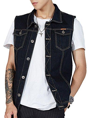 Casual Metal Jacket - Kedera Men's Denim Vest Plus Size Button Down Jeans Vests Jacket 3XL Black