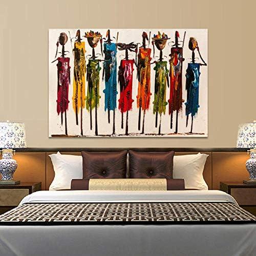 Llxhg抽象アフリカ女性絵画キャンバスポスターやプリント壁アート肖像写真用リビングルーム家の装飾-60×90センチなしフレーム