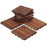 best dark wood flooring Bare Decor EZ-Floor Interlocking Flooring Tiles in Solid Teak Wood Oiled Finish (Set of 10), Long 9 Slat (Certified Refurbished)