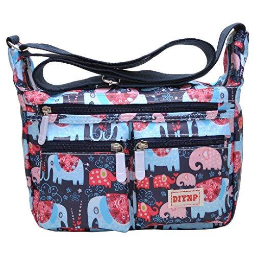Multi Pocket Shoulder Bag Corss-body Purse Waterproof Nylon Travel Handbags for Women Fashion Waterproof Bag (010 Elephant)