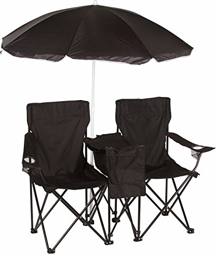 (Trademark Innovations Double Folding Camp and Beach Chair with Removable Umbrella and Cooler, Black)