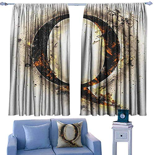 Mannwarehouse Letter Q Bedroom windproofcurtain Words in Flames Gothic Style Influential Names Hazy Fire Featured Alphabet Suitable for Bedroom Living Room Study, etc.55 Wx72 L Tan Black Orange (Words That Have Q And No U)