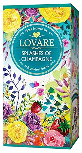 Lovare tea Splashes of Champagne Black and Green 24-Count packages by QG group