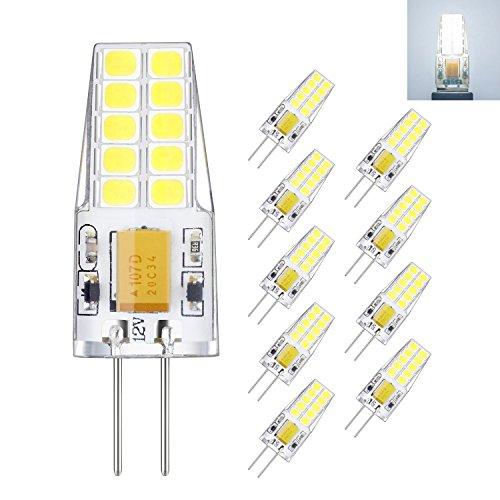 Rayhoo 10pcs G4 base LED Light Bulb 12V 3 Watt AC DC 10-20V, Non-dimmable, Equivalent to 30W T3 Halogen Track Bulb Replacement LED Bulbs, White 6000K by RA RAYHOO
