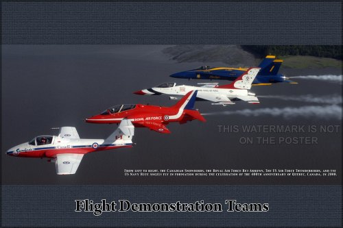 """Thunderbirds, Blue Angels, RAF Red Arrows, and Canadian Snowbirds Aerial Expedition Teams - 24""""x36"""" Poster"""