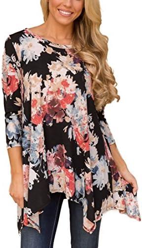 Camisa básica holgada XUERRY, parte superior tipo túnica, con manga 3/4, talla grande, para mujer