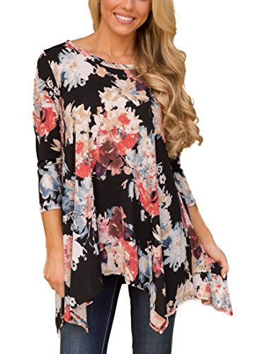 XUERRY Women Plus Size 3/4 Sleeve Tunic Tops Loose Floral Print Shirt (3XL, Black/Red)