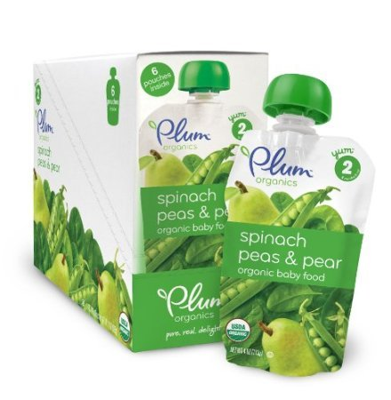 Plum Organics Baby Second Blends, Spinach, Peas and Pear, 4 Ounce Pouches (Pack of 12)