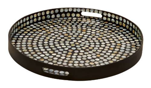 Deco 79 48931 Chromatic Wood Lacquer Shell Tray- Trays