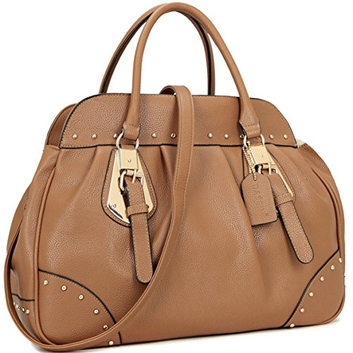 Top Handle Shoulder Bag Vegan Leather Satchel Handbag Fashion Studded Purse Large Tan