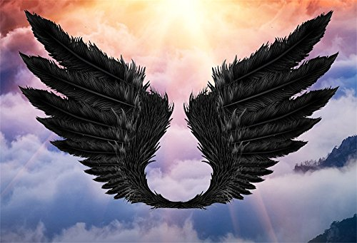 LFEEY 10x8ft Black Wings Photo Backdrop Fairy Tale Darkness Symbol Angel Feather Shadow Wing Photography Background Baby Kids Portrait Photo Shoot Studio Props -