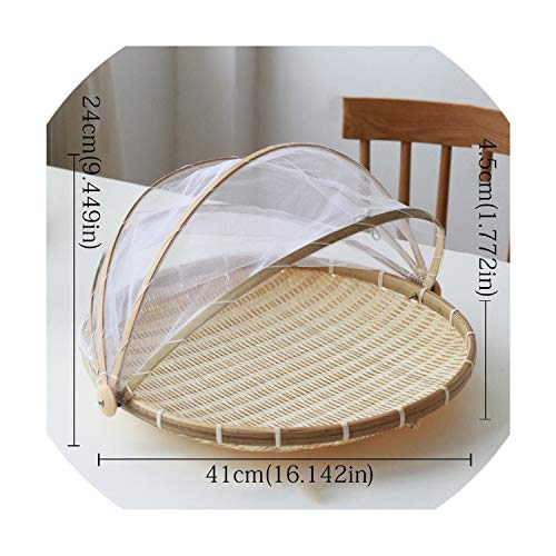 (Old street Handmade Bamboo Woven Bug Proof Wicker Basket Dustproof Picnic Fruit Tray Food Bread Dishes Cover with Gauze Panier)