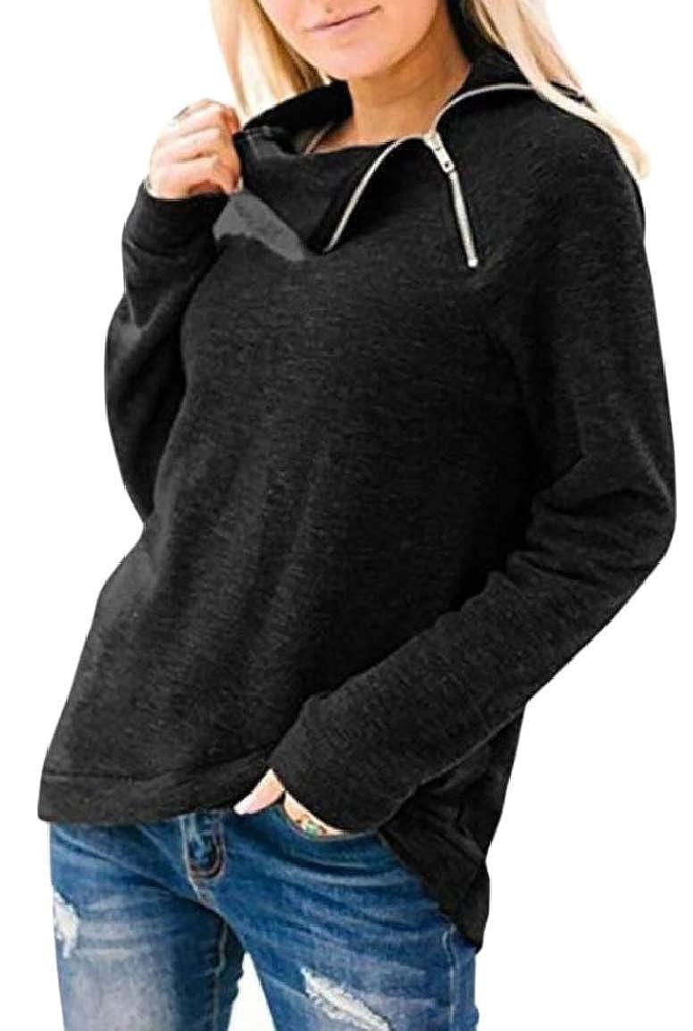 HTOOHTOOH Womens Long Sleeve Fashion Irregular Wrap Hem Pullover Sweatshirt