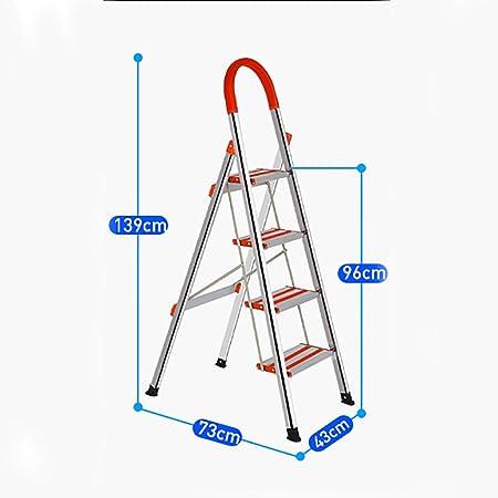 Escalera plegable Escalera plegable de 4 pasos, escalera plegable interior / exterior, escalera de cocina plegable de acero inoxidable, escalera plegable doméstica - para el hogar / cocina / garaje es: Amazon.es: Hogar