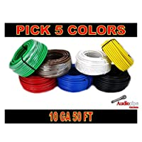 10 GA GAUGE 50 FT ROLLS PRIMARY AUTO REMOTE POWER GROUND WIRE CABLE (5 COLORS)