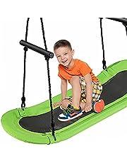 DORTALA Surfing Tree Swing, Outdoor Platform Swing with Soft Handles and Adjustable Height, Saucer Tree Swing with Stable Metal Frame and Spacious Swingboard, Green
