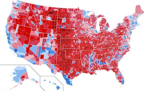 Home Comforts Map - File United States Presidential Election Results by County 2016 Extraordinary Us Map Red Blue Vivid Imagery Laminated Poster Print 24 x 36