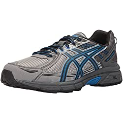 ASICS Mens Gel-Venture 6 Running Shoe, Aluminum/Black/Directoire Blue, 14 4E US