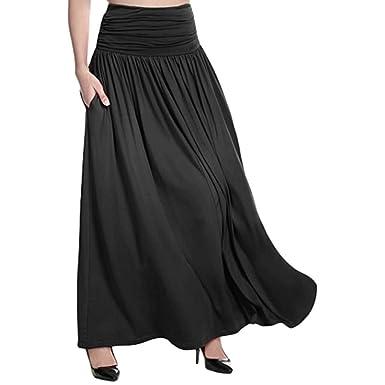 cc7b4a1cd POTO Women Skirts Plus Size Ladies High Waist Solid Maxi Skirt Casual Swing  Gypsy Long Skirt
