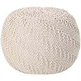 Christopher Knight Home Austin Knitted Cotton Pouf in Beige