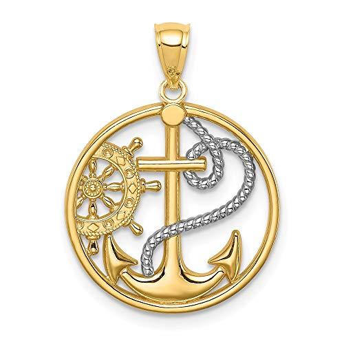 14k Yellow Gold with Rhodium White Rhodium Cross Anchor Captain Wheel Charm Pendant