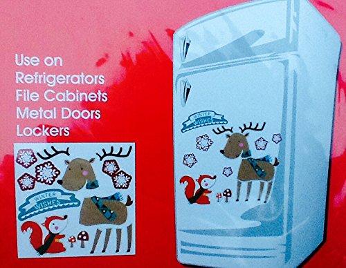 Holiday Decorative Fridge Magnet Set for Refrigerator, Locker, File Cabinet... (Deer and - Holiday Refrigerator