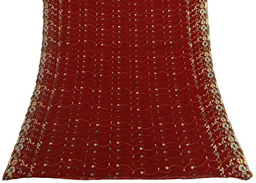 Vintage Dupatta Long Indian Scarf Embroidered Georgette Fabric Maroon Veil Stole (Vintage Indian Scarves)