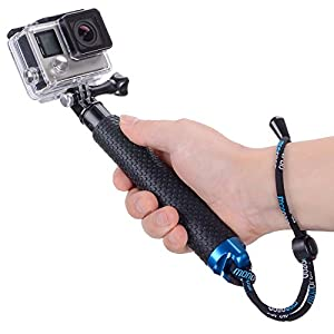 Vicdozia 19'' Waterproof Hand Grip Adjustable Extension Selfie Stick Handheld Monopod for GeekPro/GoPro HD Hero 6 5 4 3+ 3 2 1, AKASO, SJCAM SJ4000 SJ5000 Xiaomi Yi(with Wrist Strap and Screw)