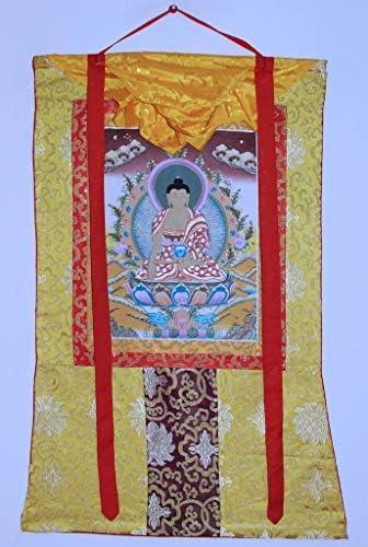 Hand Painted Thanka Thangka, Shakyamuni Buddha Golden Brocade1