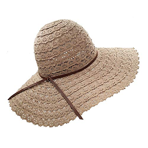 YSense Womens Summer Beach Sun Hats UPF Foldable Floppy Travel Wide Brim Hat -